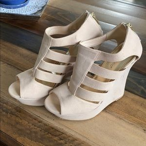 Bamboo Platforms suede looking strappy sandals